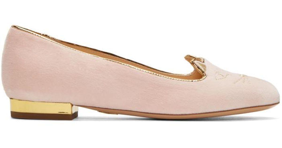 Charlotte Olympia SSENSE Exclusive Velvet Kitty Slippers