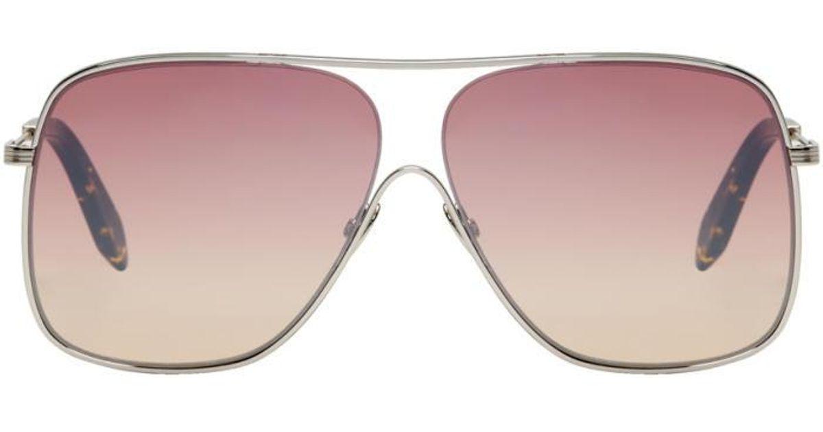 e860c7fc3e Lyst - Victoria Beckham Silver   Pink Loop Navigator Sunglasses in Metallic