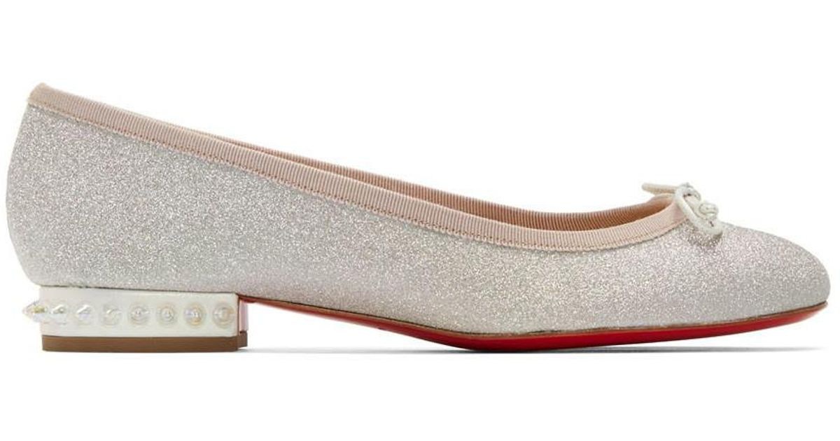 énorme réduction 3087f 4d776 Ballerines scintillantes argentees La Massine Christian Louboutin en  coloris Multicolor