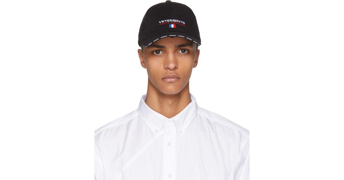 Lyst - Vetements Black Haute Couture Logo Baseball Cap in Black for Men fd574225770