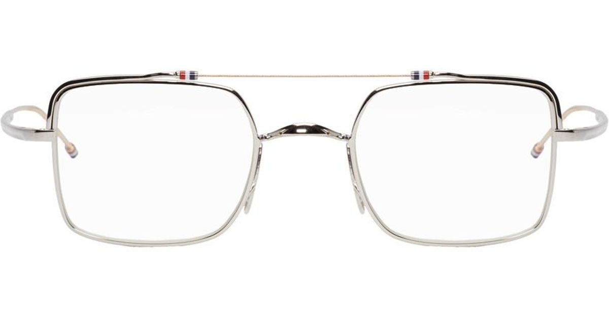 284c9394eb3 Lyst - Thom Browne Silver And White Gold Tb-909 Glasses in Metallic for Men