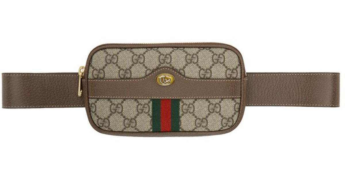 897c103ed42 Lyst - Gucci Brown GG Supreme Ophidia Iphone Case Belt Bag in Brown
