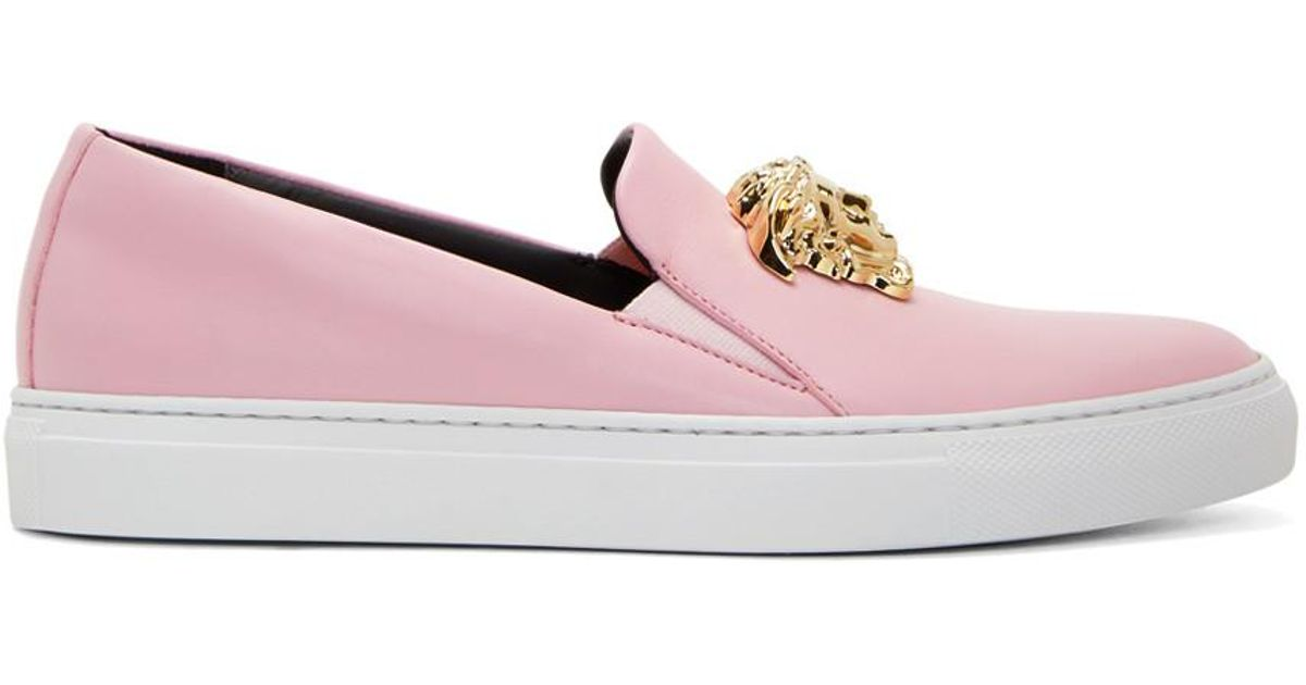 Versace Leather Pink Medusa Slip-on