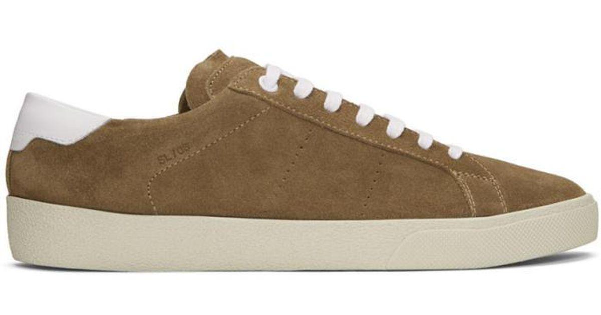 b20bede607 Saint Laurent Brown Suede Sl/06 Court Classic Sneakers for men