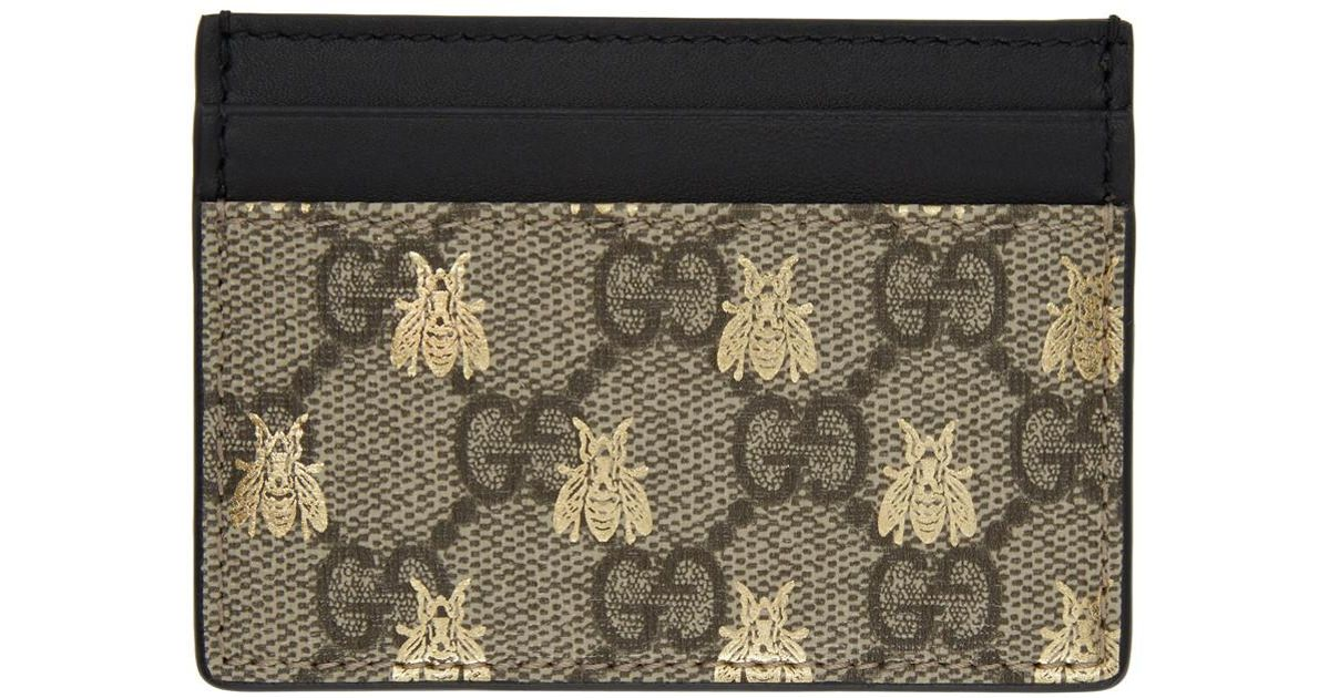6d2a37507f83c1 Gucci Beige GG Supreme Bees Card Holder in Natural - Lyst