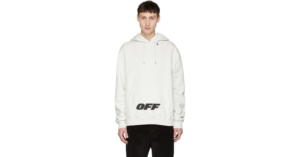 70aa14fd5bce Lyst - Pull a capuche blanc casse Wing Off Logo Off-White c o Virgil Abloh  pour homme