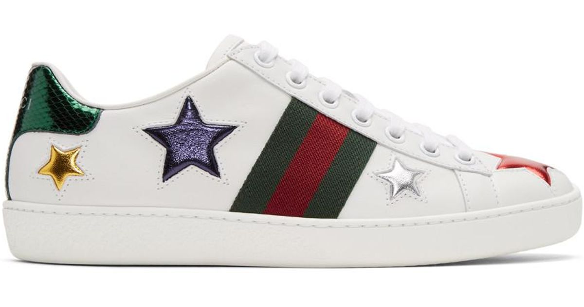 Gucci Leather White Stars Ace Sneakers