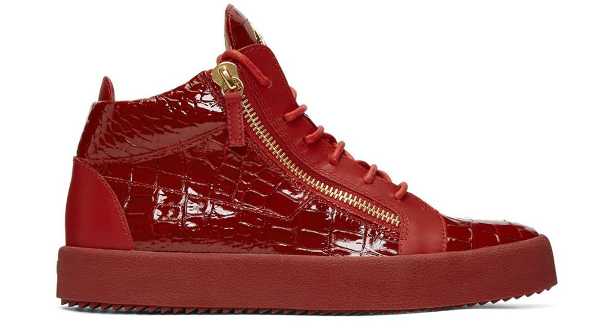 0b2169ba1f2 Lyst - Giuseppe Zanotti Red Patent Croc May London High-top Sneakers in Red  for Men