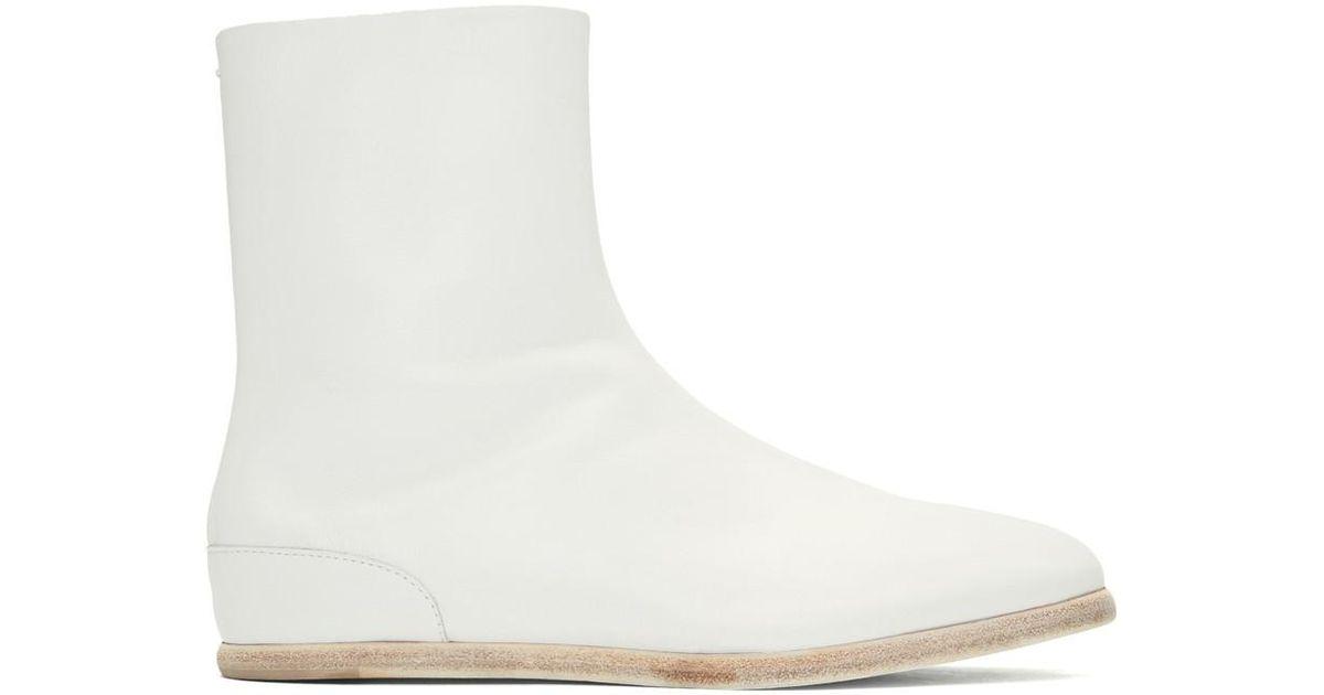 e96735975 Maison Margiela Tabi Ankle Boots in White for Men - Lyst