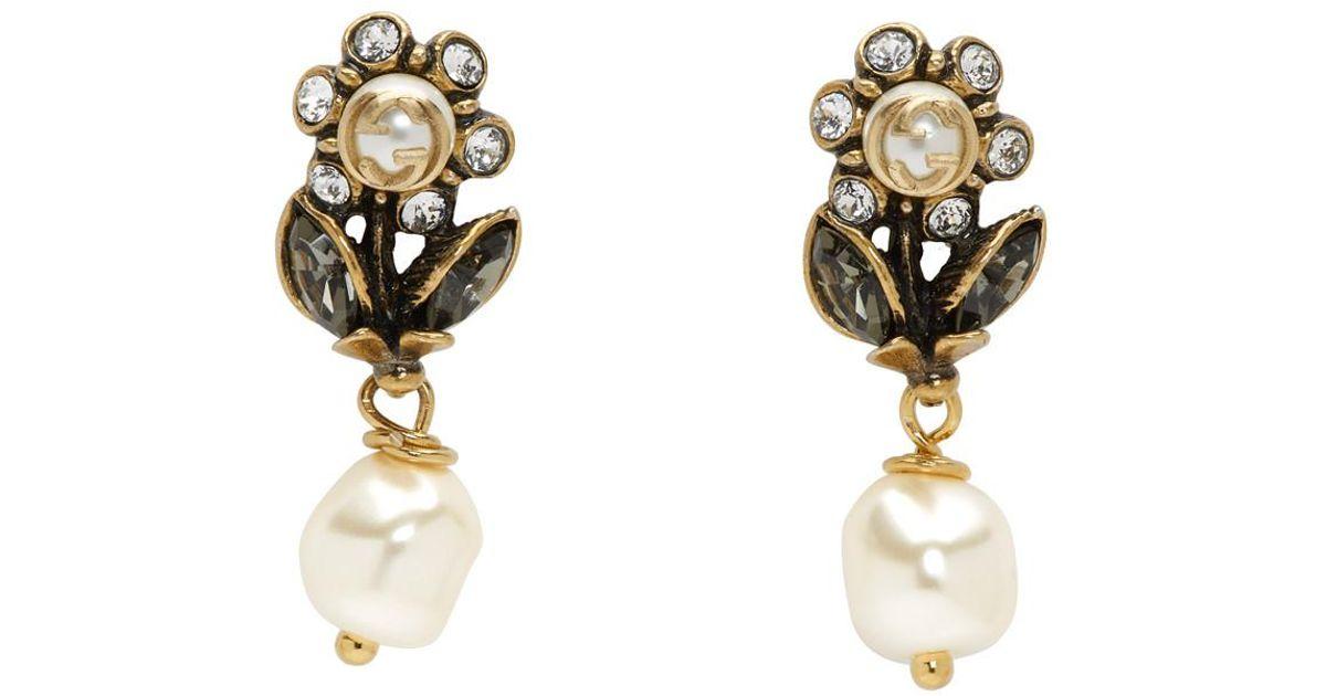 Gucci Metallic Gold Flowers Drop Earrings