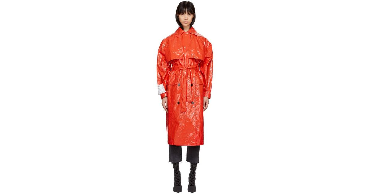 Msgm Red Plastic Trench Coat Lyst, Plastic Trench Coat