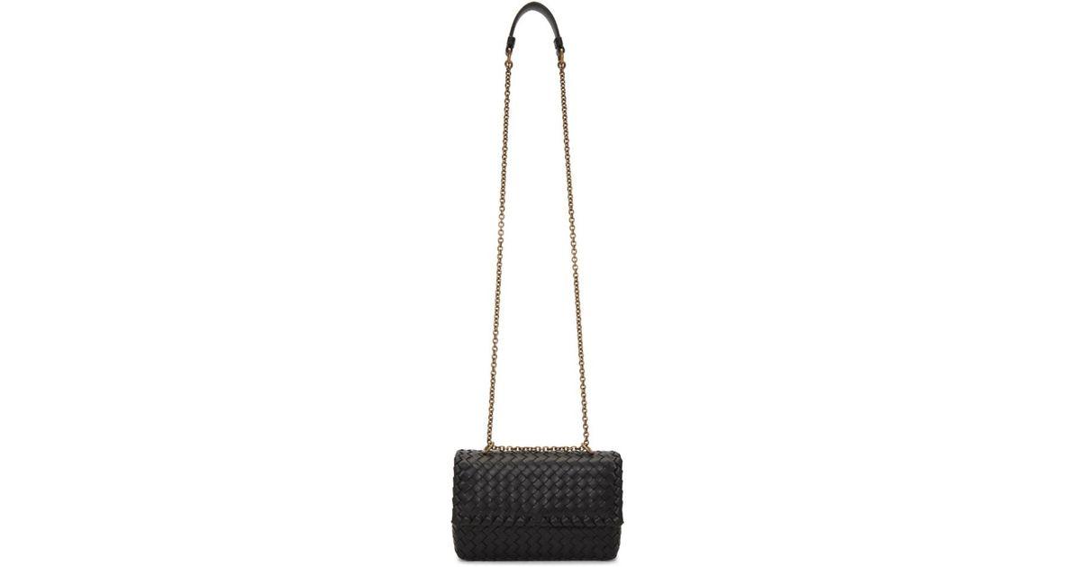 f8f9f802a214 Lyst - Bottega Veneta Black Intrecciato Baby Olympia Chain Bag in Black