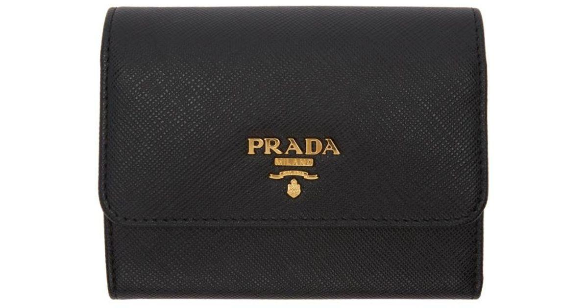 2aabb8394d632d Lyst - Prada Black Saffiano Trifold Wallet in Black