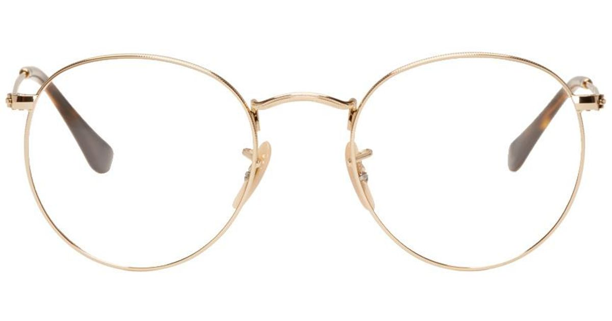 34f06a24b Ray-Ban Gold Round Glasses in Metallic for Men - Lyst
