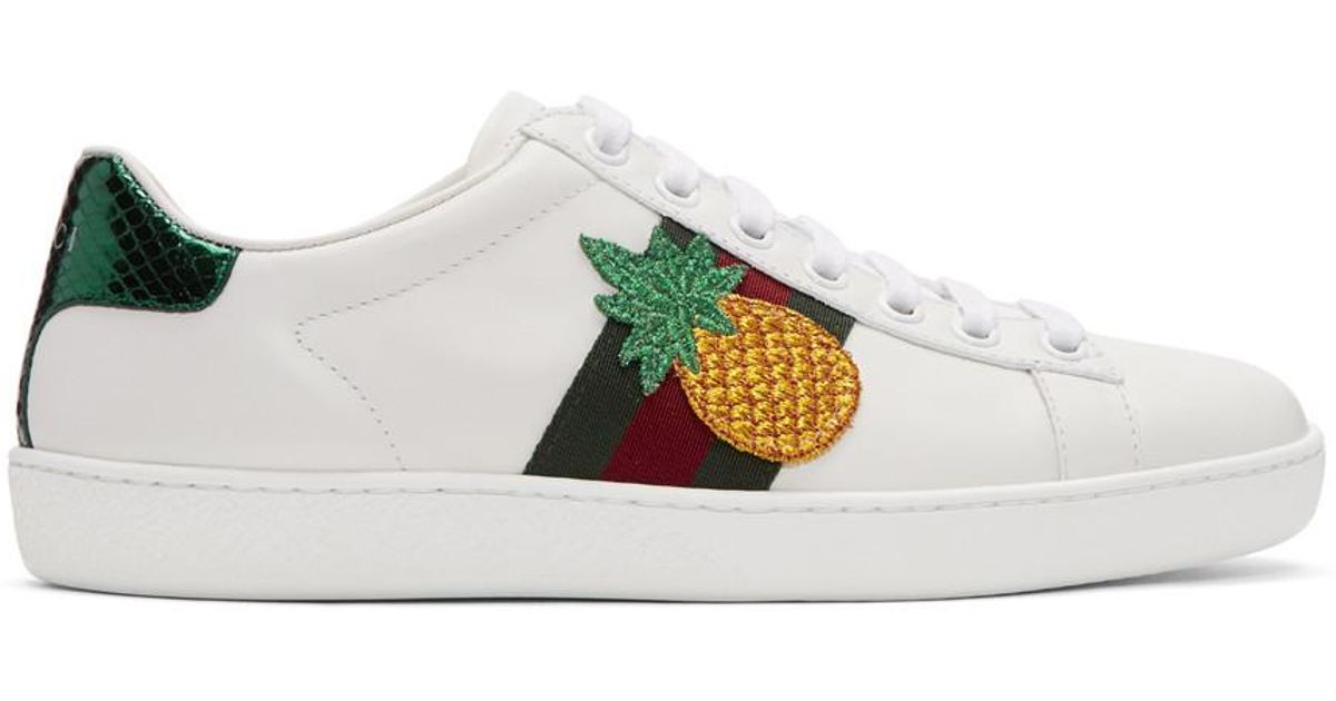 a6eff3731 Gucci Pineapple & Ladybug Ace Sneakers in White - Lyst