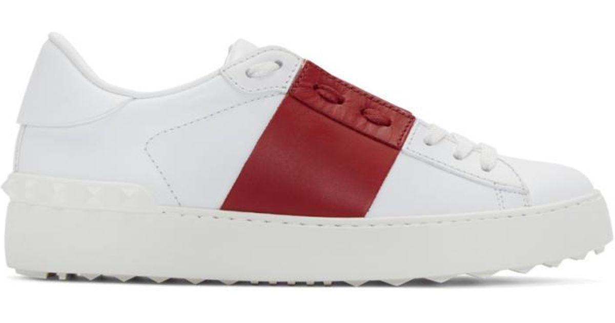 Valentino Leather White \u0026 Red Open