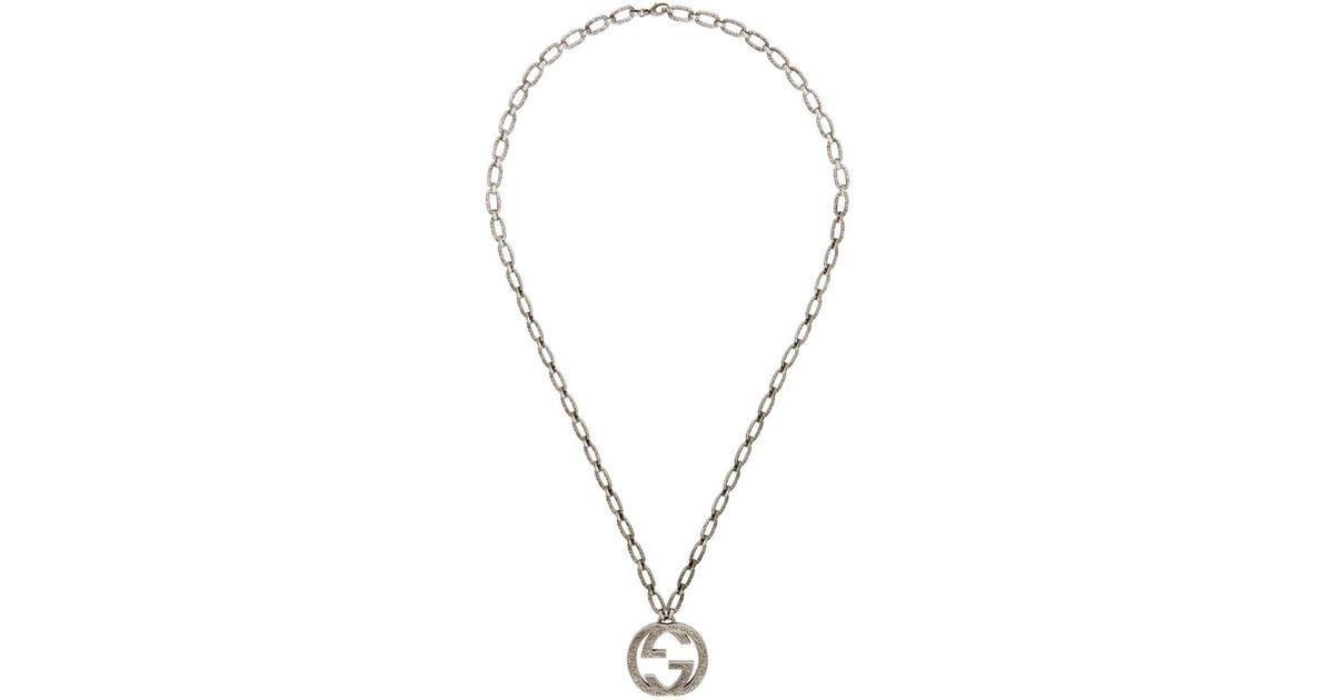 63c3ec724ad Lyst - Gucci Silver Interlocking Gg Necklace in Metallic for Men