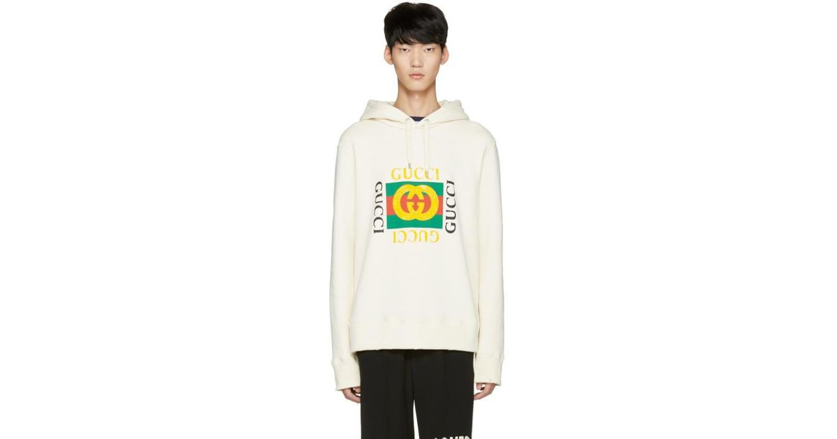 Gucci Off,white Felted Hoodie for men