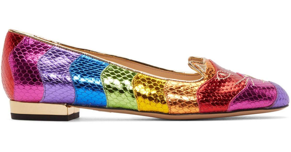 Multicolor Metallic Rainbow Kitty Flats Charlotte Olympia DrKpzg