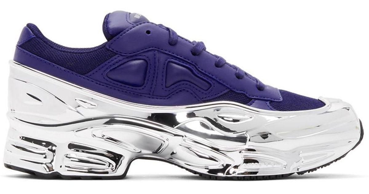 Raf Simons Leather Navy And Silver