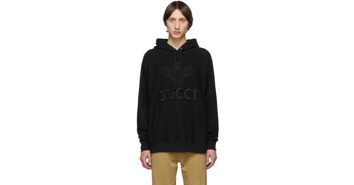 Gucci Black Tennis Club Hoodie for Men