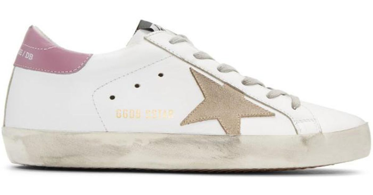 ddf658d7e6f Lyst - Golden Goose Deluxe Brand White   Pink Superstar Sneakers in White