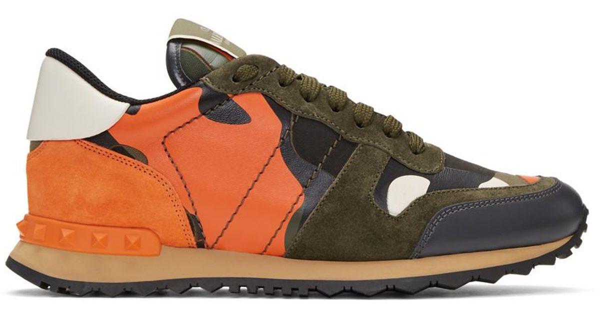 Green \u0026 Orange Camo Rockrunner Sneakers