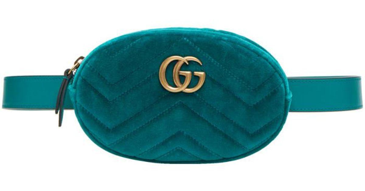 e721f617963678 Gucci Blue Velvet Gg Marmont Matelassé Belt Bag in Blue - Lyst