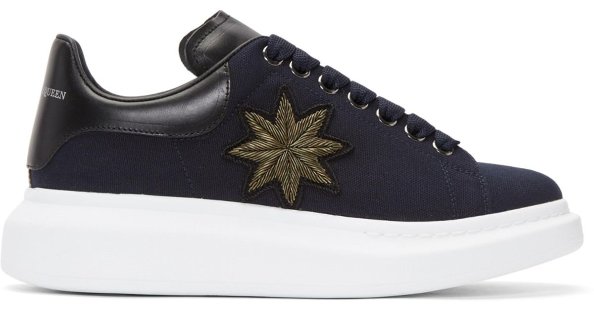 Cheap Sale New Styles Navy Embroidered Oversized Sneakers Alexander McQueen Order For Sale Sale Outlet Buy Cheap For Nice Cheap Visit New MNvrm1eo