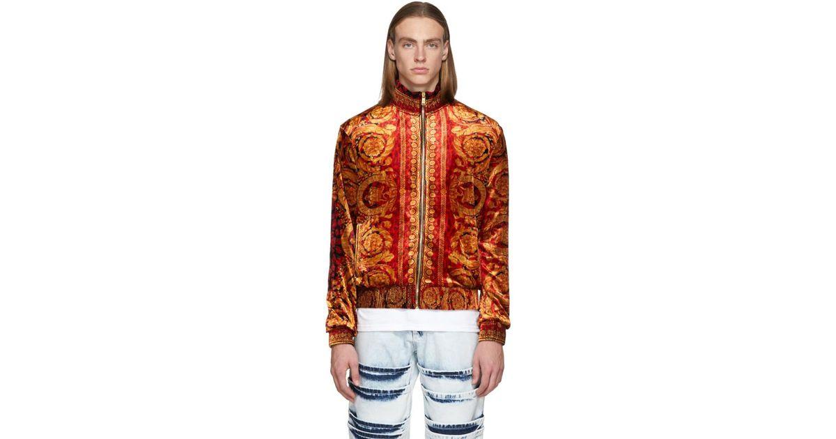 74a92fd6d5 Versace Multicolor Velvet Barocco Print Zip-up Sweater for men