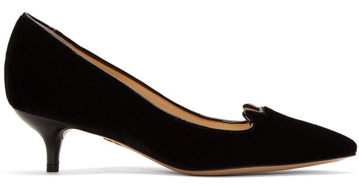 black velvet kitten heel shoes