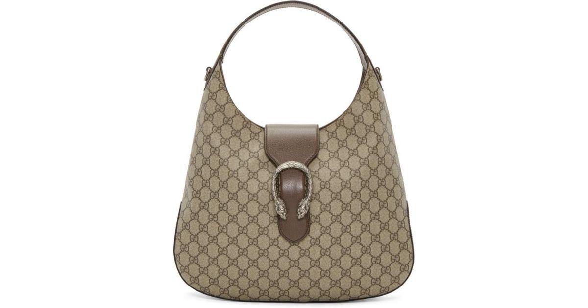 45e8af79179 Gucci Beige Gg Supreme Dionysus Hobo Bag in Natural - Lyst
