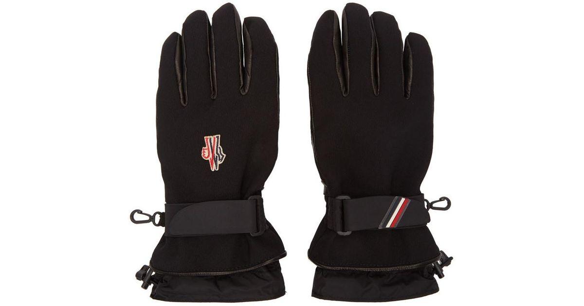 eb6eea1811d Lyst - Gants en toile et cuir dagneau noirs Moncler Grenoble pour homme en  coloris Noir
