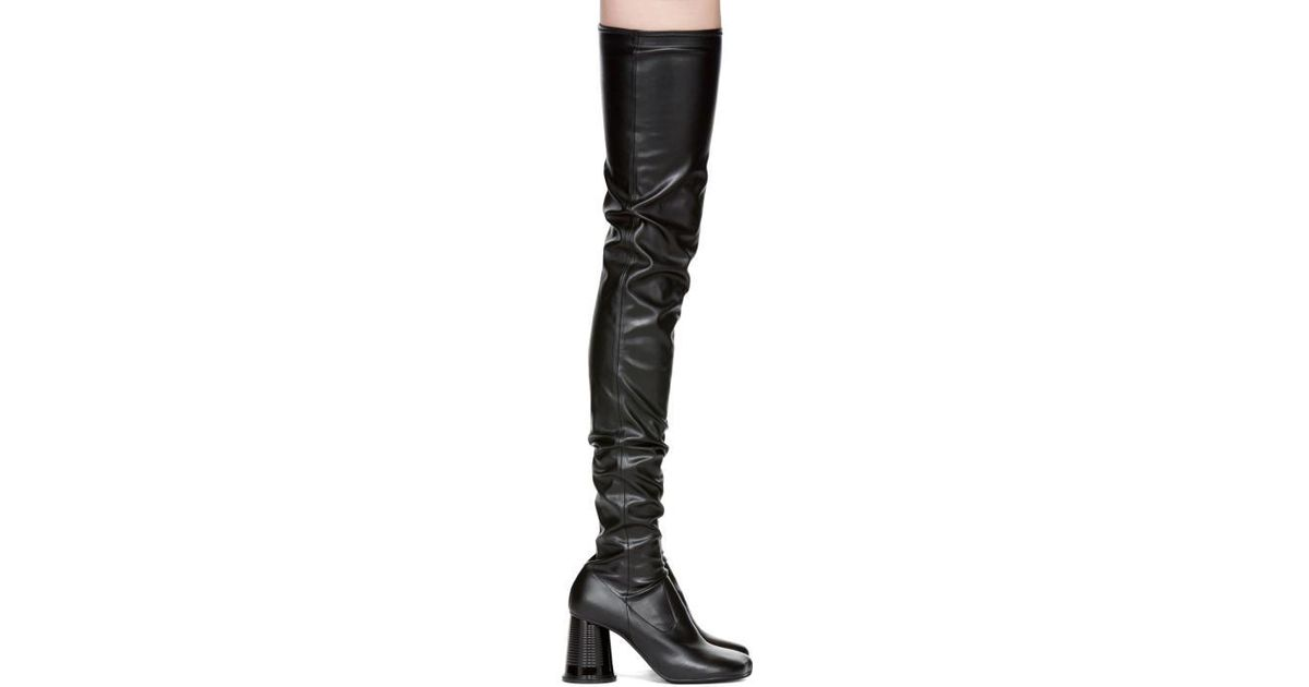 f3fe28c2159 Lyst - MM6 by Maison Martin Margiela Black Cylinder Heel Over-the-knee  Boots in Black