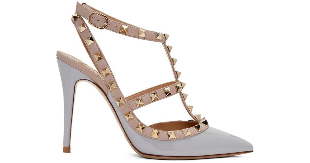 3c3c3fb9452c Valentino Grey Rockstud Cage Heels in Gray - Lyst