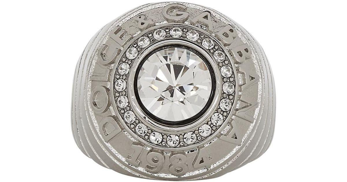 rencontrer 44a17 873d4 Bague a logo argentee Dolce & Gabbana pour homme en coloris Gray