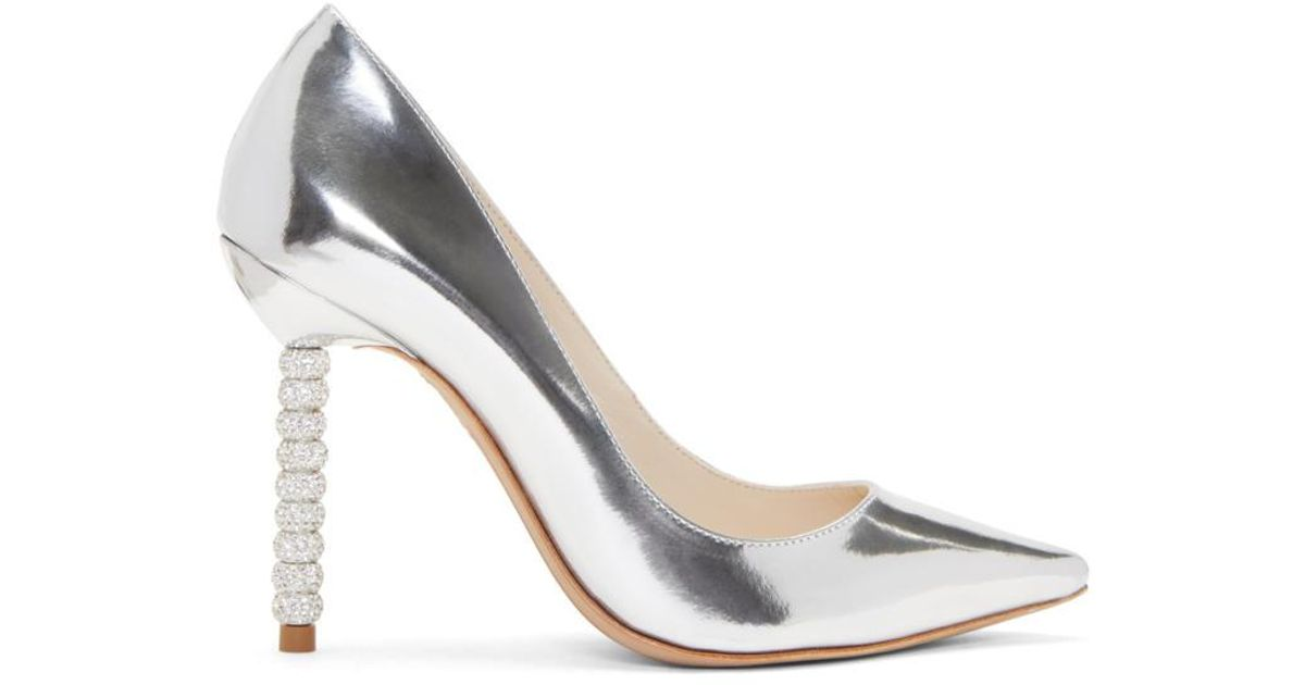 57056b18dfb Lyst - Sophia Webster Silver Metallic Coco Crystal Heels in Metallic