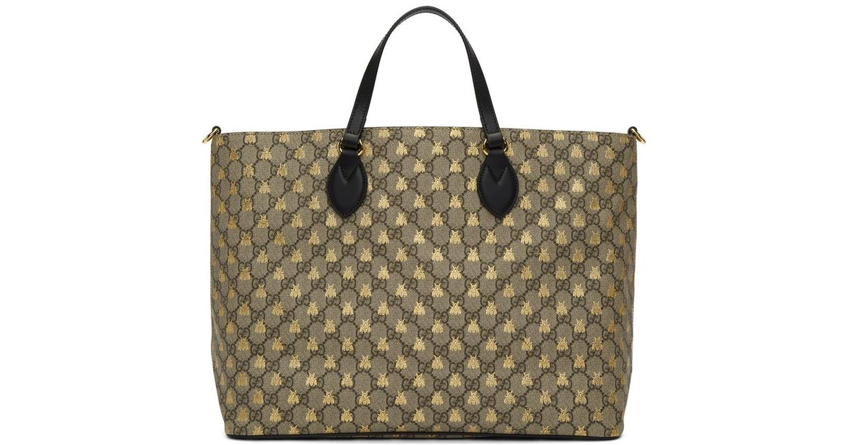 c7043c91d10560 Gucci Brown Gg Supreme Bees Tote in Brown - Lyst
