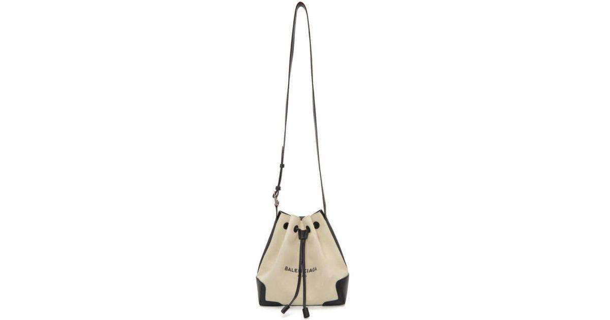 c90f424f3 Balenciaga Off-white Canvas Bucket Bag in Black - Lyst
