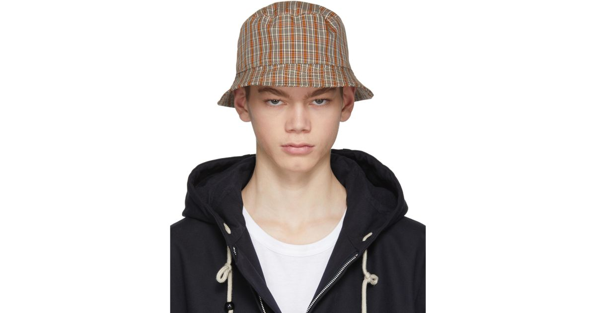 Lyst - Acne Studios Red And Orange Check Buk Bucket Hat in Red for Men 9a0f66bda47