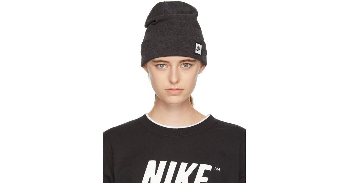 watch d70d5 e36d8 Nike Grey Nsw Tech Beanie in Black - Lyst
