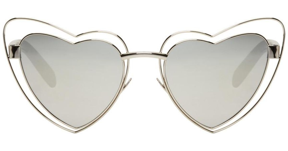 b94aae0c28 Saint Laurent Silver Loulou Cut-out Sunglasses in Metallic - Save 20% - Lyst