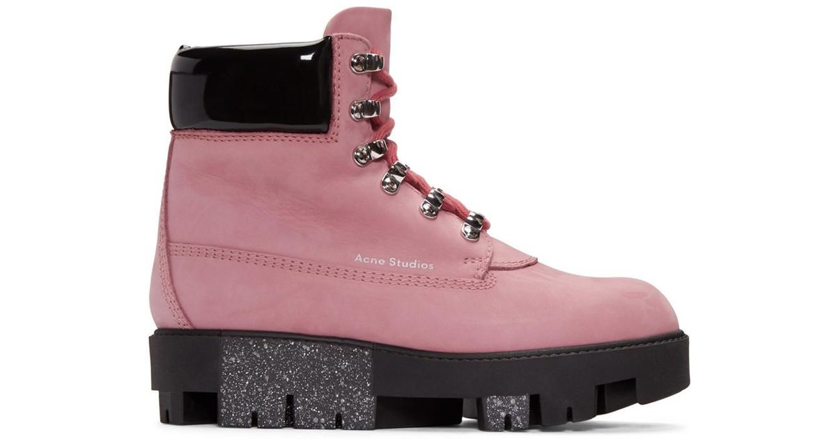 a9b3ba044d8 Acne Black Telde Lace-up Suede Ankle Boots