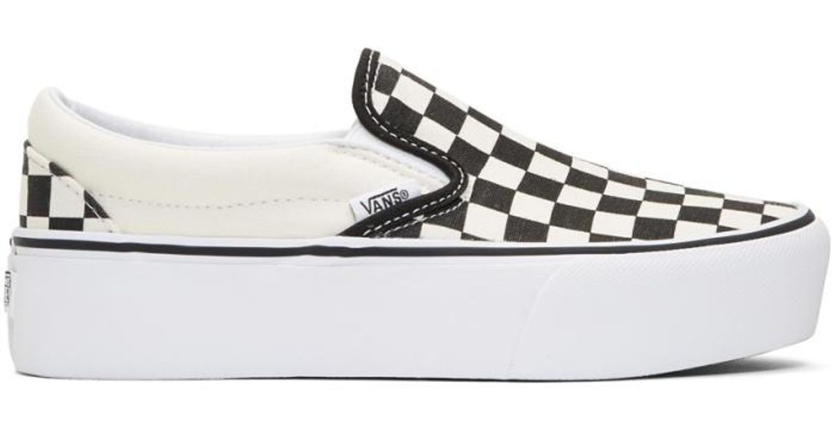 26a9522fa75f Lyst - Vans Black   Off-white Checkerboard Classic Platform Slip-on  Sneakers in Black