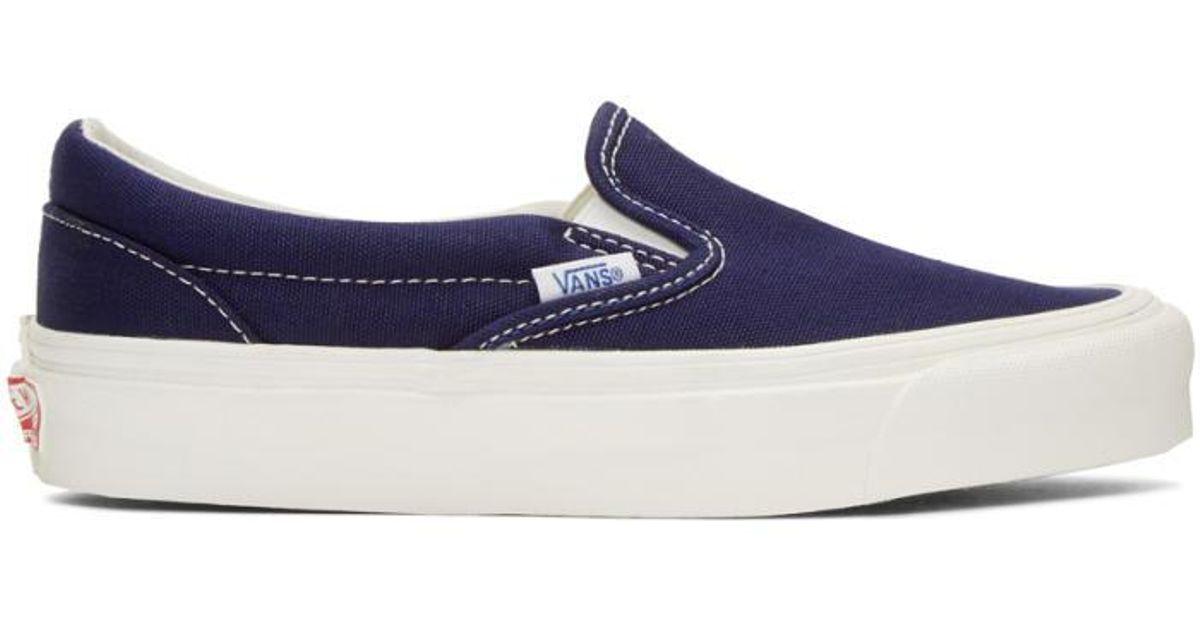 3e98d000ab9dad Lyst - Vans Navy Og Classic Lx Slip-on Sneakers in Blue