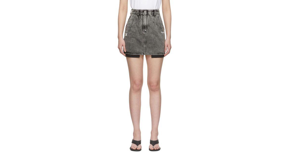 91835f39f8 Off-White c/o Virgil Abloh Black Denim Mini Skirt in Black - Lyst