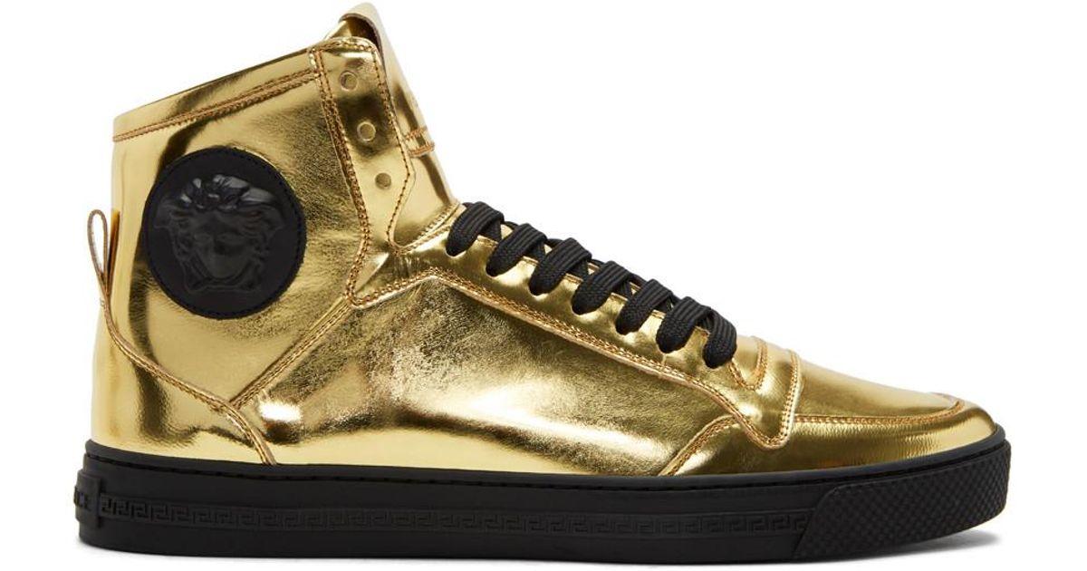 Versace Leather Gold Medusa High-top