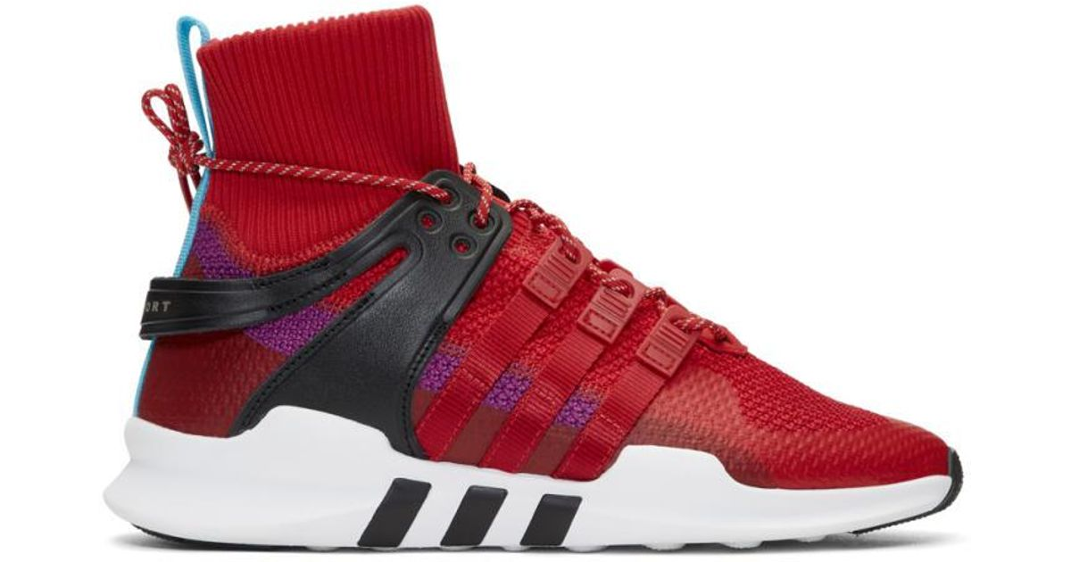 for whole family exclusive shoes 100% quality Adidas Originals Red And Purple Eqt Support Adv Winter High-top Sneakers  for men
