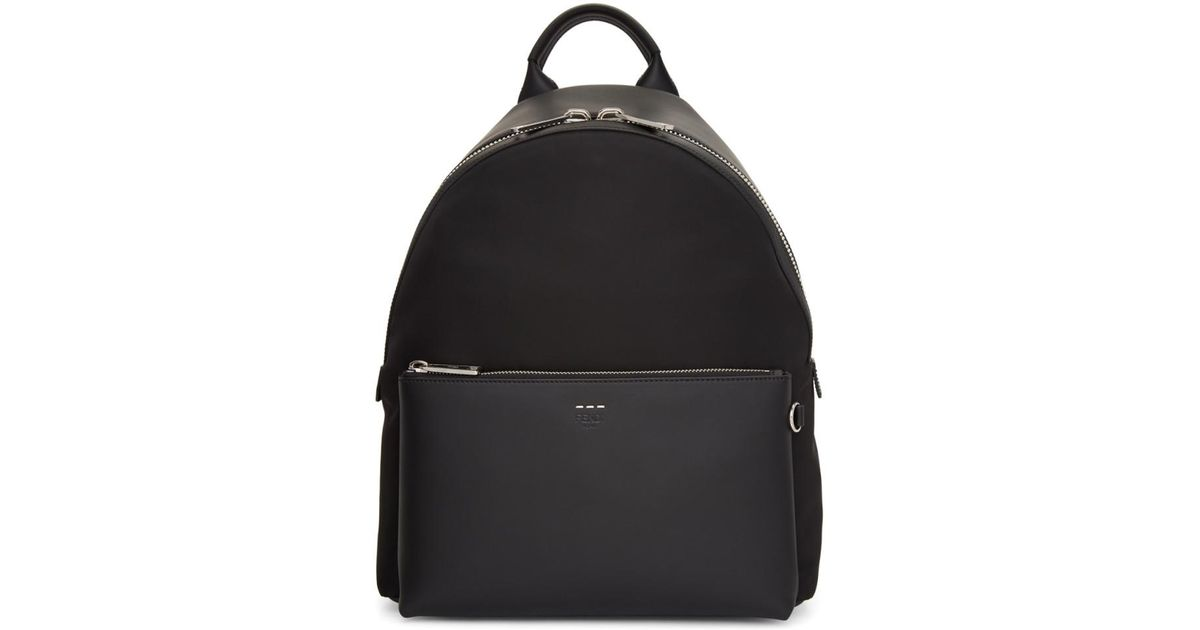 55cf412e517d Lyst - Fendi Black Tapestry Strap Selleria Backpack in Black for Men