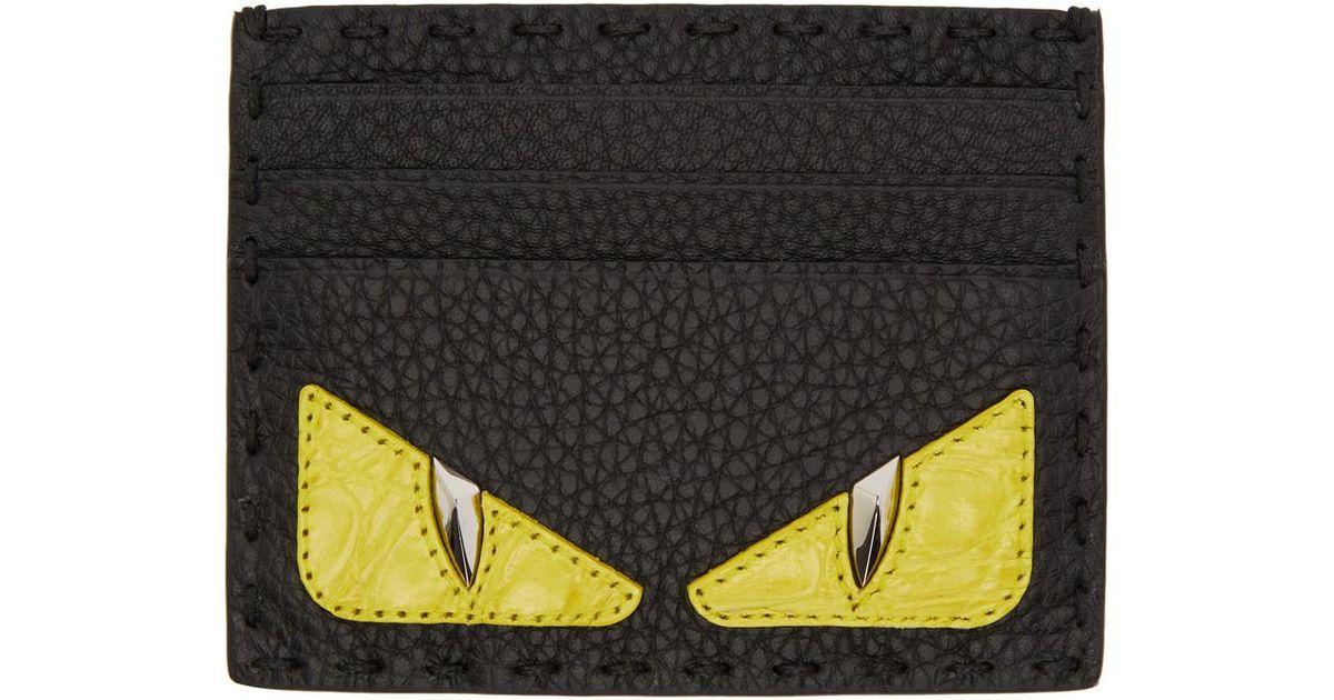921c2320f42 Fendi Black Croc Bag Bugs Card Holder in Black for Men - Lyst